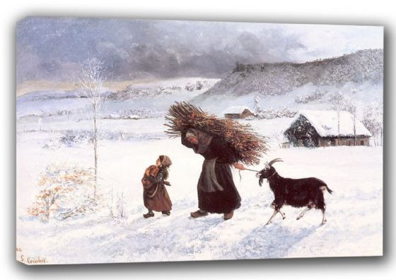 Courbet, Gustave: The Poor Woman of the Village. Fine Art Canvas. Sizes: A3/A2/A1 (001047)